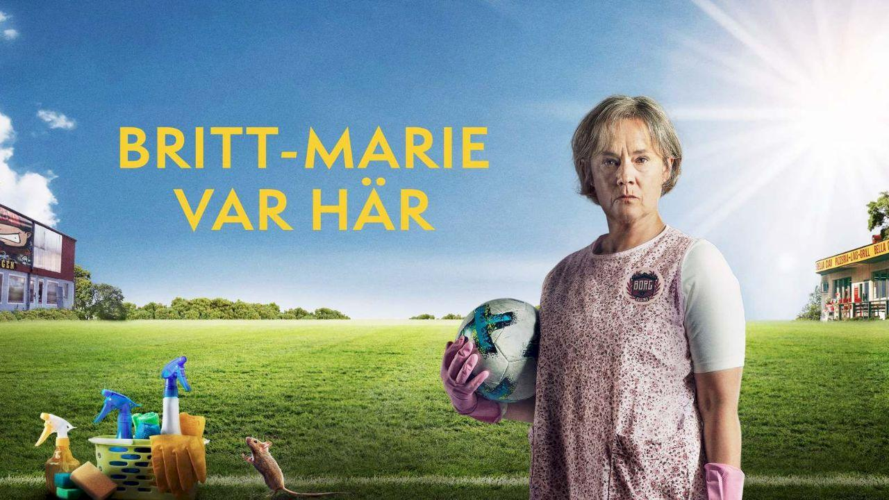 Britt-Marie is here is a book by Fredrick Backman. This poster depicts a 63 year old woman holding a football wearing cleaning gloves in her hands. The poster also has cleaning products next to her. A housewife restarts her life as a coach